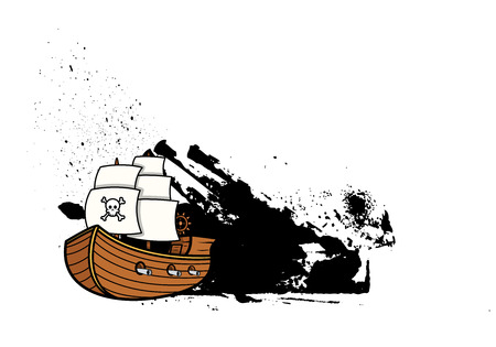 Pirate Sailing Boat Grunge Banner Vector