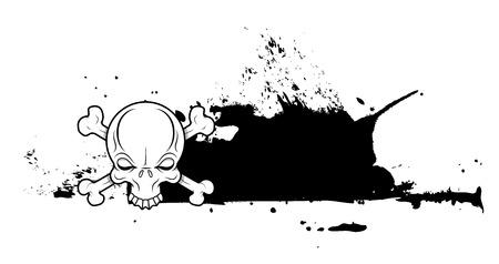 grunge banner: Halloween Skull Grunge Banner Vector