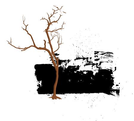 grunge banner: Dead Tree Grunge Vector Banner