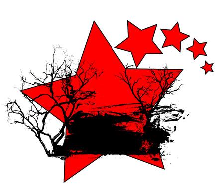 Grunge Banner Stars Background Vector