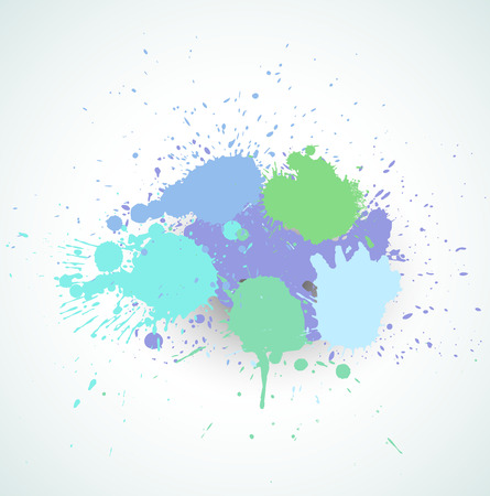 colorful paint: Vintage Colorful Paint Splashes Illustration