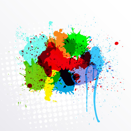 whitewash: Abstract Colorful Splashes Vector Illustration