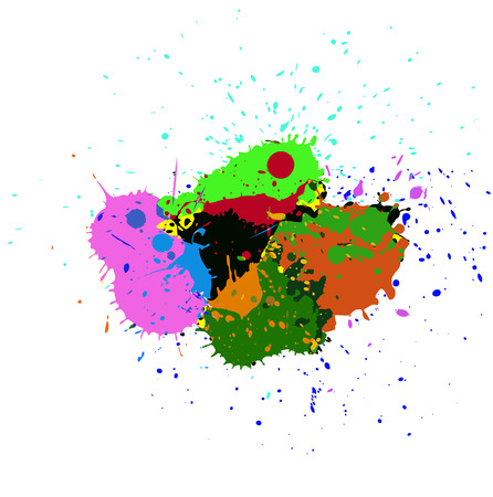 whitewash: Grunge Colorful Stains Vector Illustration