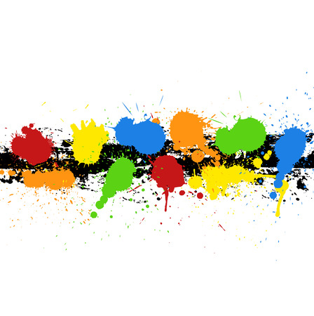 colorful paint: Grunge Colorful Paint Drops Illustration
