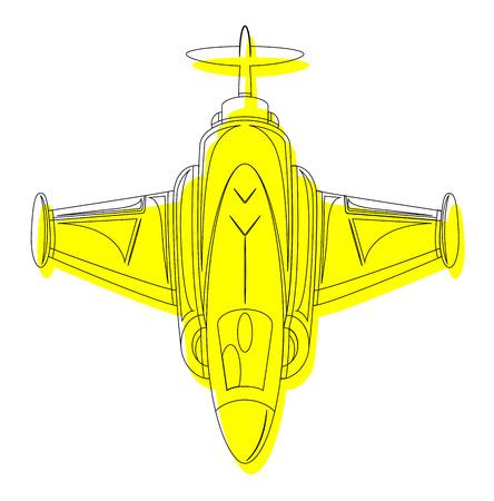 avion chasse: Dessin Jaune Avion de chasse Illustration