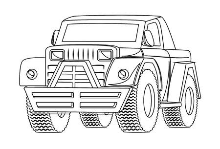 Vintage Jeep Drawing Vector Vector