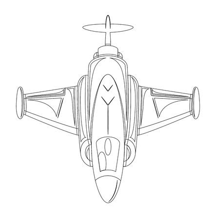 avion chasse: Dessin Retro Avion de chasse Illustration