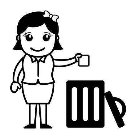 woman throwing: Woman Throwing Garbage in Trash Illustration