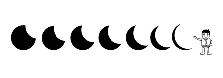 showing: Man Showing Different Moon Shapes