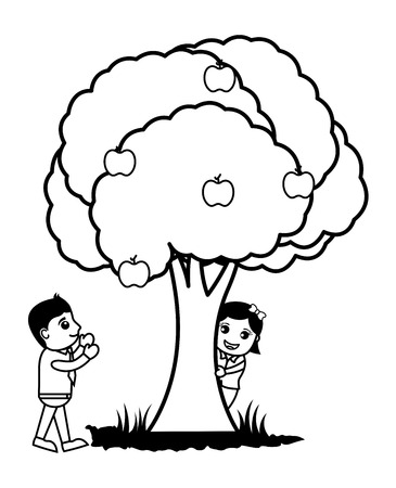 Business Cartoon Characters Playing Around Tree Illustration