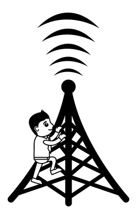 satellite transmitter: Business Cartoon Character On Mobile Tower