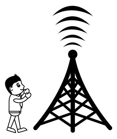 satellite transmitter: Business Cartoon Character With Network Tower