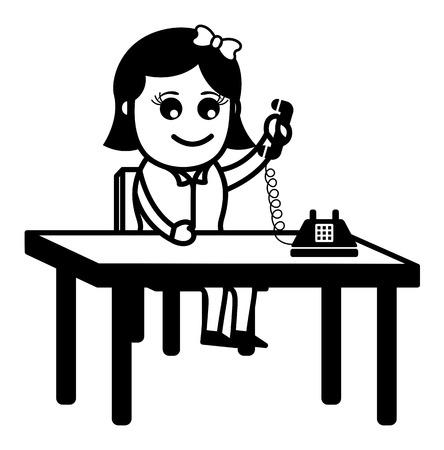 Business Cartoon Character Receiving a Phone Call Vector