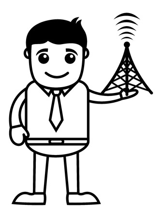 tv tower: Man with TV Tower - Vector Illustration