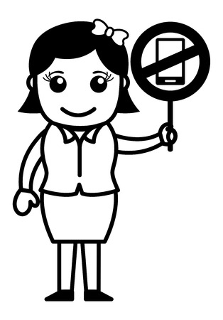 cell phones not allowed: Business Cartoon Character Showing No Mobile Phone Allowed Illustration