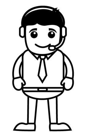 helpline: Man with Headphone - Helpline Concept -  Vector Illustration