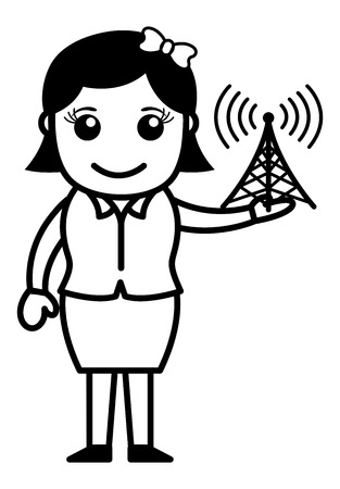 satellite transmitter: Girl with Internet Signal Tower