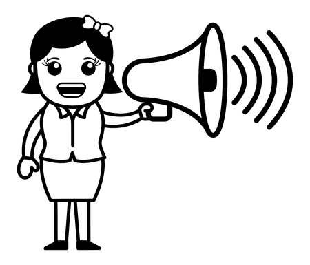 announcing: Girl Announcing - Vector Illustration