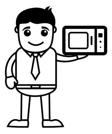 presenting: Man Presenting Microwave Oven - Vector Illustration