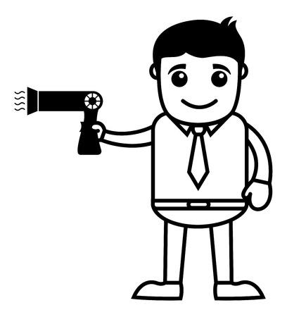 Man with Hair Dryer - Vector Illustration Vector
