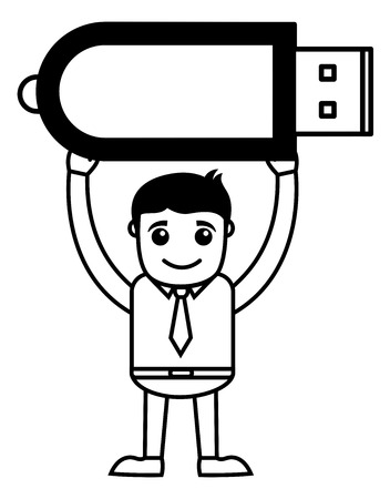 storage data product: Man with Pren Drive - Data Card - Vector Illustration