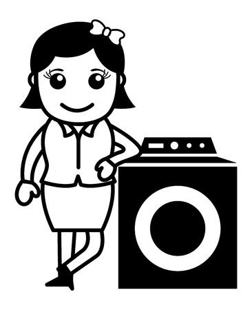 washing machine: Woman with Washing Machine