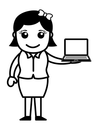 girl with laptop: Girl with a Laptop Illustration