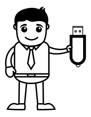 Man Showing Pen Drive - Dongle - Data Card - Vector Illustration Illustration