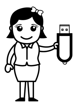 pen drive: Girl with Pen Drive
