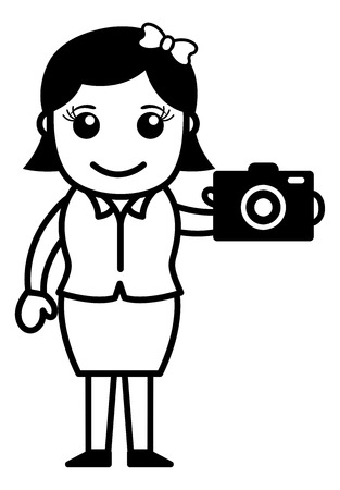 Digital Camera - Office Character - Vector Illustration Illustration