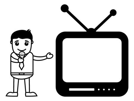 slideshow: Business Cartoon Character Presenting a Slideshow
