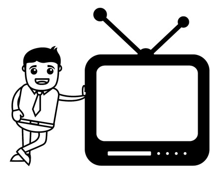 Business Cartoon Character With Mobile TV Vector
