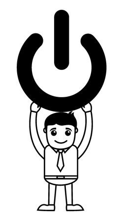 shut: Business Cartoon Character Holding Shut Down Symbol