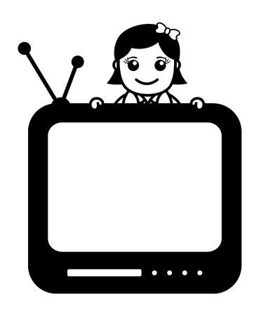 tv reporter: TV Reporter - Office Character - Vector Illustration Illustration