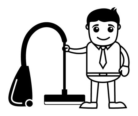 vacuum cleaner: Business Cartoon Character With Vacuum Cleaner