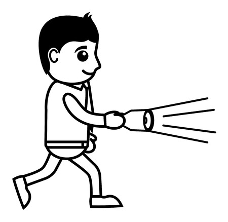 torch light: Business Cartoon Character Find with Torch Light Illustration