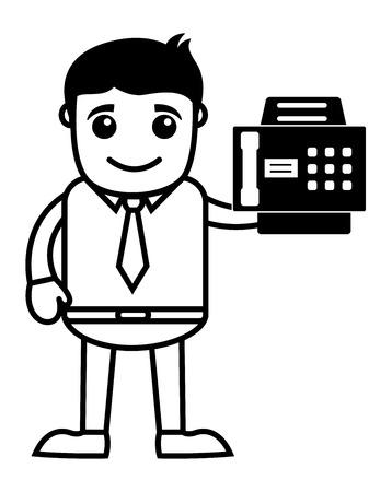 faxger�t: Gesch�fts Cartoons Charakter h�lt einen Faxger�t