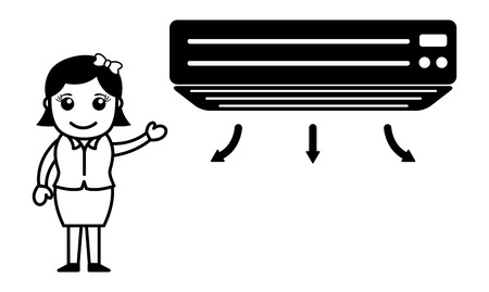 air conditioner: Business Cartoon Character With Air Conditioner