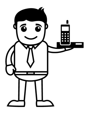 telephone salesman: Business Cartoon Character Holding A Mobile Phone Illustration
