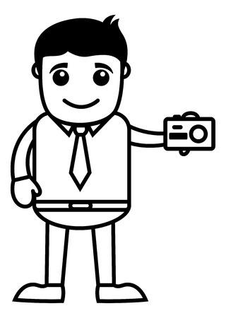 clicking: Business Cartoon Character Clicking a Camera Illustration