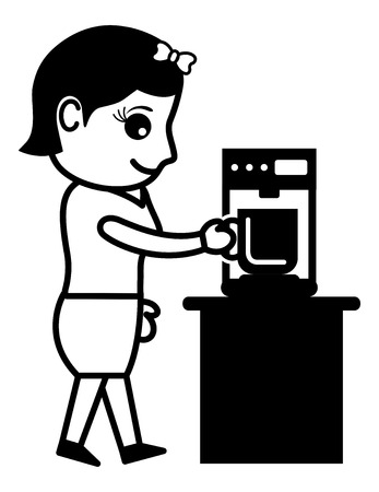 making coffee: Business Cartoon Character Making Coffee Illustration