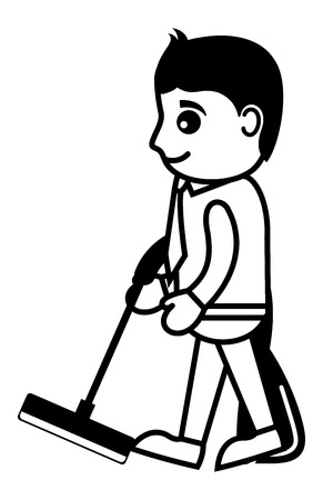 vacuum cleaner: Business Cartoon Character Cleaning with Vacuum Cleaner
