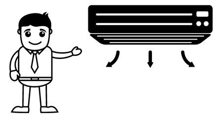 air conditioner: Business Cartoon Character Showing Air Conditioner