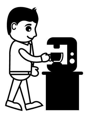 coffee machine: Man Getting Coffee from Coffee Machine - Vector Illustration