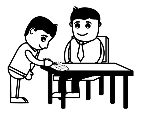 signed: Agreement Signed - Cartoon Office Vector Illustration