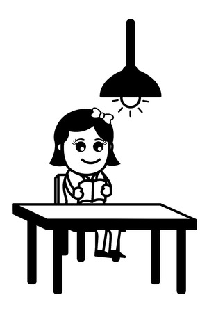 Woman Reading Alone Vector