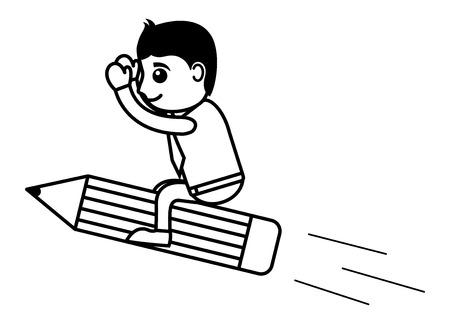 Man Flying on Pencil Vector