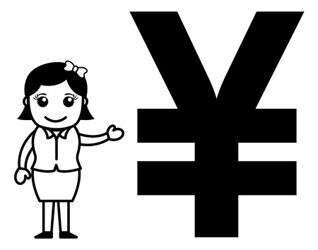 Business Cartoon Character Showing Yen Symbol Illustration
