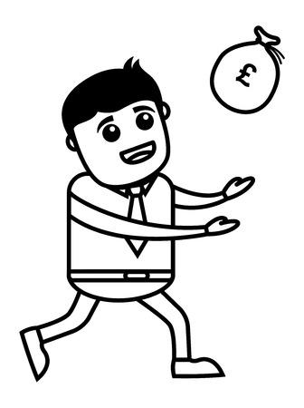 catching: Business Cartoon Character Catching Money