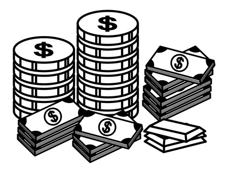 american banker: Cash and Gold Coin - Finance - Money - Treasure Cartoon - Vector Illustration Illustration